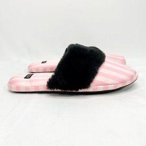 VICTORIA'S SECRET Pink Striped Slippers Black Trim